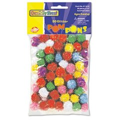 "Creativity Street® Glitter Pompons, 1/2"" Multicolored Glitter Poms, Assorted Colors, 80/Pack"