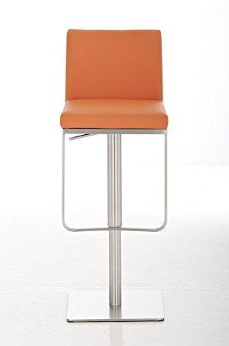 CLP Edelstahl Barhocker PANAMA, aus bis zu 9 Polsterfarben wählen, Sitzhöhe 58 - 82 cm, drehbar, mit Fußstütze orange