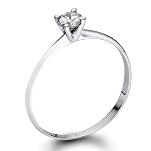 Certified, Round Cut, Solitaire Diamond Ring in 14K Gold / White (1/4 ct, F Color, VS2 Clarity)