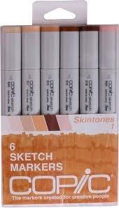 Copic Markers 6-Piece Sketch Set, Skin Tones I