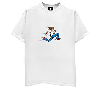 Running Man T-Shirt-Mens-White-Large
