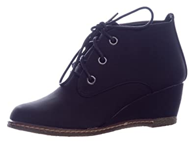 Qupid Women's Lace Up Faux Suede Ankle Wedge Booties,5.5 B(M) US,Black
