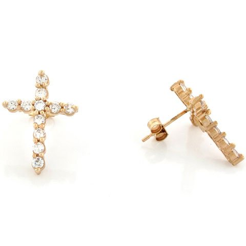 10k Yellow Solid Gold Round Cut White CZ Religious Cross Pin Earrings