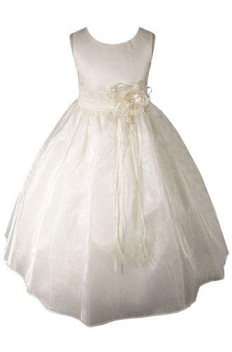Amj Dresses Inc Ivory Princess Flower Girl Wedding Dress Size 8
