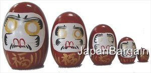 Red Matryoshka Daruma Nesting Doll #MD3/R