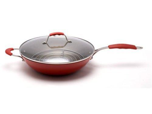 Steamy Kitchen 13-in. Nonstick Enamel Light Cast Iron Wok, Red