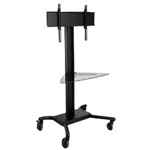 """Universal Rolling Cart for 32"""" - 60"""" Flat Panel Screens, with Tinted Glass Shelf (Black)"""