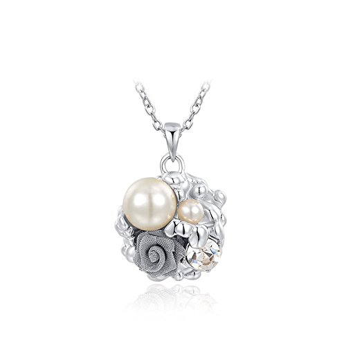 [Roxi Women's Vintage Pearl Flower Pendant Necklaces Round Crystal Necklaces] (Angel Costume Tumblr)