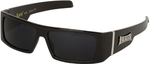 JY8509COL8 Wide Arm Rectangular Black Frame Smoke Lens Fashion Sunglasses with Skulls - Black Frame - Smoke Lens