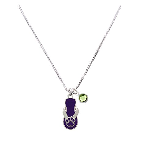 Paw Flip Flop Purple - Lime Green Crystal Drop Necklace