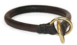 "Dean and Tyler ""DESPERADO"", Rounded Dog Choke Collar with Brass Hardware - Brown - Size 18-Inch by 1/2-Inch Diameter - Fits Neck 16-Inch to 18-Inch"