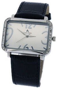 Louis Arden Women's Black Diamond Rectangle Vegan Watch