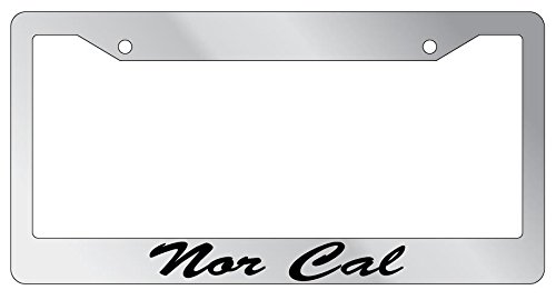 Nor Cal Script High Quality Chrome Plastic License Plate Frame EBS (Script License Plate Frame compare prices)