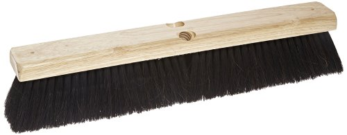 "Carlisle 4504003 Flo-Pac Fine/Medium Floor Sweep With Tampico Center, Blended Horsehair Bristles, 18"" Block Size, 3"" Bristle Trim, Black front-628741"