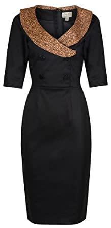 Lindy Bop 'Deanna' Glamourous Black Vintage Forties Fifties Style Fitted Wiggle Dress (M)