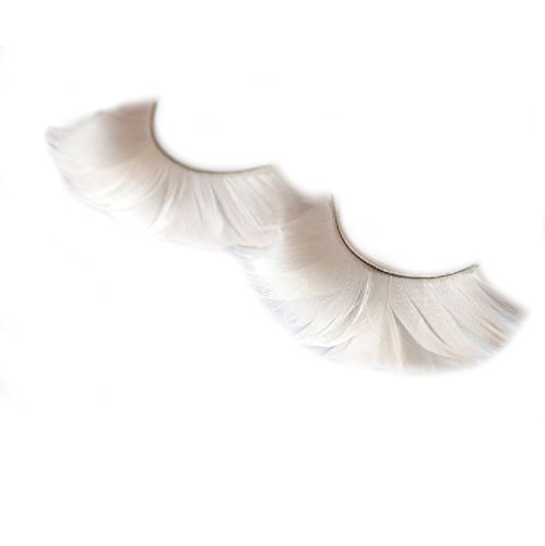 White Deluxe Party Feather Handmade False Eyelashes Eye Lashes Dance Halloween Costume (White Feather Lashes)