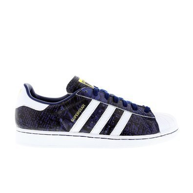 Adidas Originals Superstar, Homme Baskets Low-Top - NYC reines-blanc rayures - Semelle blanc, Homme, 43-