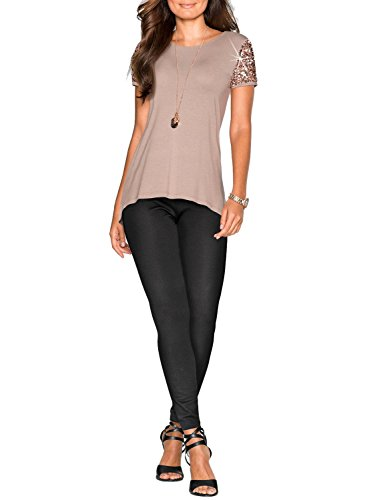 Phoenix Women Khaki Asymmetric Hem Short Sleeve with Sequin Inserts Shirt Top, Khaki, Large