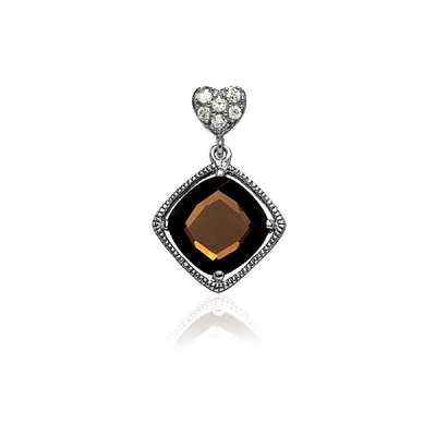 Necklace Pendant Jewelry Sterling Silver Small CZ Heart w/ Hanging Brown Topaz Square CZ Pendant(WoW !With Purchase Over $50 Receive A Marcrame Bracelet Free)