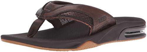 Reef Men's Leather Fanning Lux Flip Flop, Vintage Brown, 10 M US