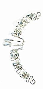 Aster - Silver Pierceless Ear Wrap w/Rhinstones By