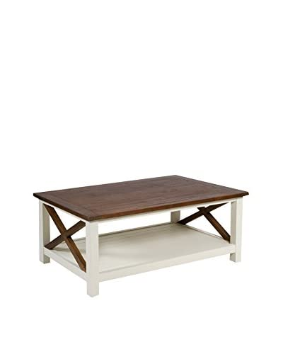 Koloniale stijl salontafel Lucca wit / bruin