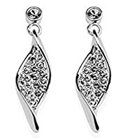 Silver Plated Diamanté Pave Twisted Drop Earrings