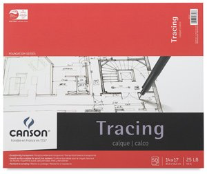 Canson Foundation Tracing Paper - 14 x 17, Tracing Pad, 50 Sheets, 25 lb (40 gsm)