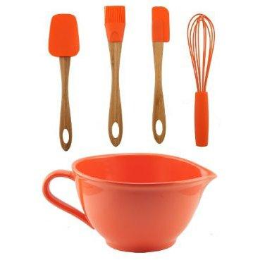 C-Orange Batter Bowl w/Utensil Set