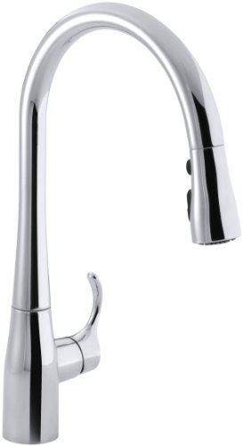 KOHLER K-596-CP Simplice Single-Hole Pull-down Kitchen Faucet, Polished Chrome
