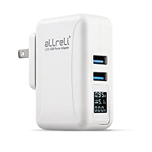 [LCD Display] aLLreLi Dual Port USB Travel Charger Kit w/ US, AU, UK, EU International Plug (Interchangeable), 24W / 4.8A Portable Intelligent Multi Port Wall Charger for iPhone 6S / 6 Plus / 5S / 5C / 4S, iPad Air / Mini, Galaxy S6 Edge / S5 / S4, Note 5