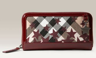 Burberry Chester Star Noval Check Print Zip Around Wallet Berry Red