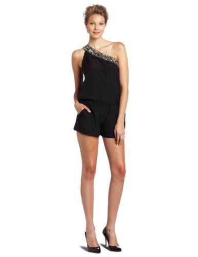 Kensie Womens One Shoulder Romper Dress