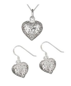 Elleclub Silver Ladies Filigree Open Heart Pendant and Earrings Set