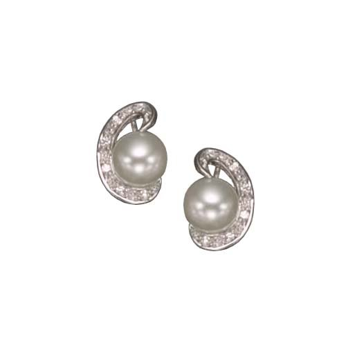 925 Sterling Silver Stud Earrings Rhodium Plated White Pearl Bezel Set in Semi Circle CZ Accent - Incl. ClassicDiamondHouse Free Gift Box & Cleaning Cloth