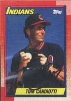 Tom Candiotti Cleveland Indians 1990 Topps Autographed Hand Signed Trading Card.