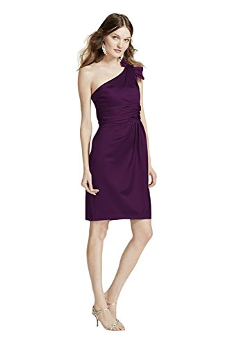 Satin One Shoulder Bridesmaid Dress with Ruching Style 84333, Plum, 8