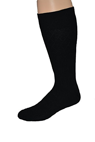Men's Premium Combed Cotton Big and Tall Black Dress Sock-2pr Pack Made in USA Big Tall Dress Clothes
