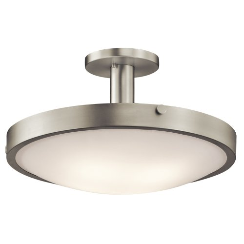 B008F9YUMW Kichler Lighting 42246NI Lytham 4-Light Semi Flush, Brushed Nickel Finish with Satin Etched White Glass