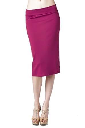 82 Days Women'S Ponte Roma Regular To Plus Below Knee Pencil Skirt - Fuchsia S
