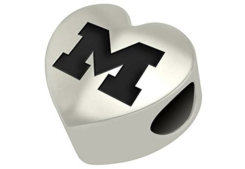 Michigan Wolverines Sterling Silver Heart Bead Fits Most European Style Beaded Charm Bracelets