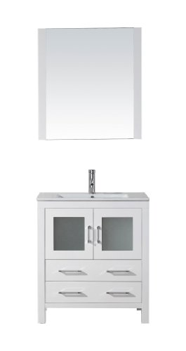 Virtu Usa Ks-70030-C-Wh Modern 30-Inch Single Sink Bathroom Vanity Set With Polished Chrome Faucet, White