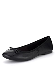 M&S Collection Leather Slip-On Bow Pumps