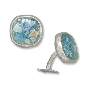 Sterling Silver Ancient Roman Glass Cuff Links Ancient Glass Measures Approx 16mm X 16mm