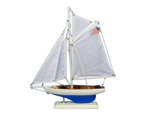 Handcrafted Nautical Decor Defender Sailboat, 16""