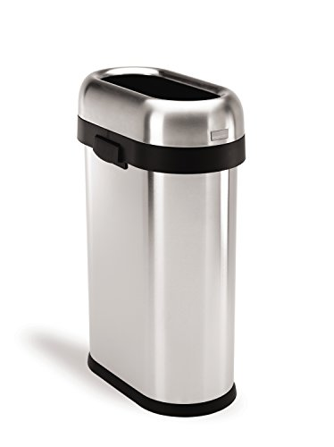 simplehuman Slim Open Trash Can, Commercial Grade, Stainless Steel, 50 L / 13 Gal (Stainless Waste Can compare prices)