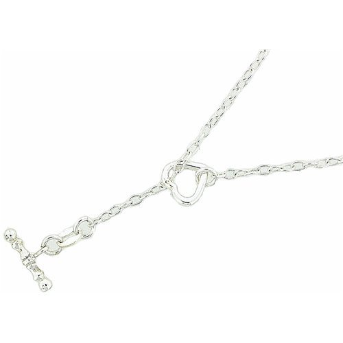 The Olivia Collection Sterling Silver 17.5 Inches T-Bar Heart Necklace