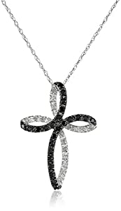 10k White Gold Cross Black and White Diamond Pendant Necklace (1/5 cttw, I-J Color, I2-I3 Clarity), 18''
