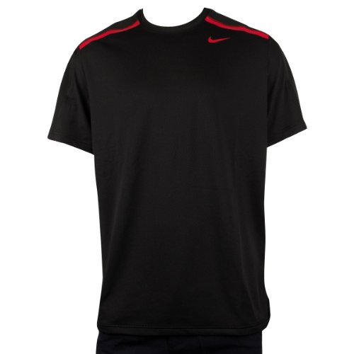 Mens Nike Dry Dri FIT Running Shirt Top Black T-Shirt Gym Training Tee All Sizes