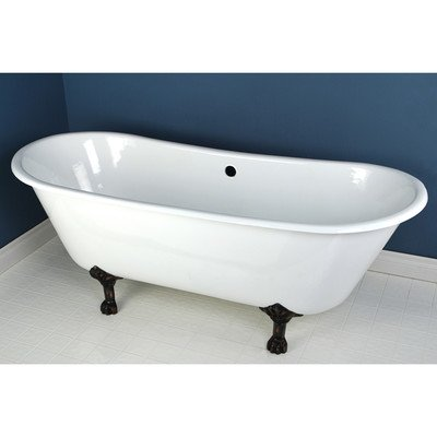 Kingston Brass VCTND6728NH5 Cast Iron Double Slipper Clawfoot Bathtub with Oil Rubbed Bronze Feet without Faucet Drillings, 67-Inch, White